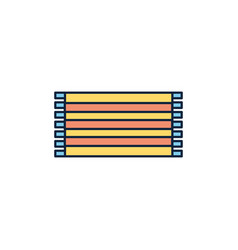 Striped towel summer icon line and fill vector
