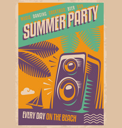 summer party retro poster vector image