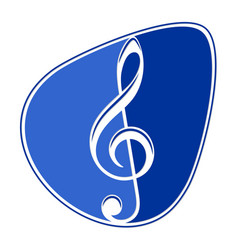 Symbol guitar pick with treble clef vector