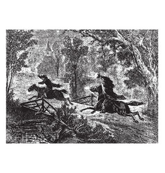 The headless horseman sleepy hollow vintage vector