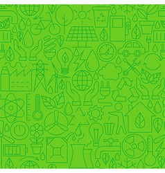 Thin Ecology Environment Line Seamless Green vector image