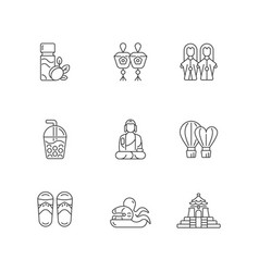 Traditional taiwanese linear icons set vector