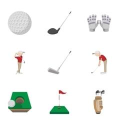 Training golf icons set cartoon style vector