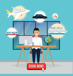 travel agency concept man sitting at table in vector image