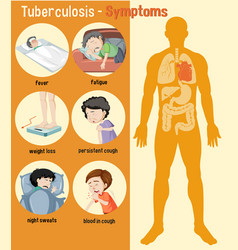 Tuberculosis symptoms information infographic vector