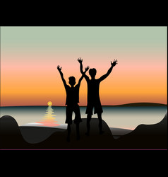 two happy friends at sunset or sunrise on seaside vector image