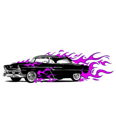 Vintage car surrounded by fire and purple flames vector