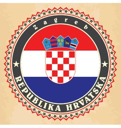 Vintage label cards of croatia flag vector