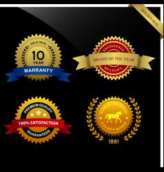 Warranty guarantee seal ribbon award a set vector