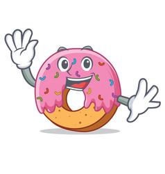waving donut character cartoon style vector image