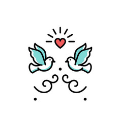 wedding doves love birds icons wedding couple vector image