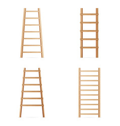 wooden step ladder set of various ladders vector image