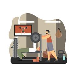 Young man doing bench press exercises lifting vector