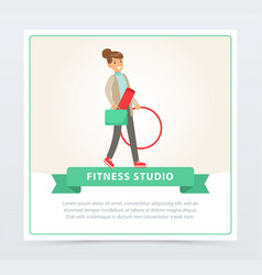 young woman going to fitness training with vector image