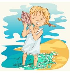 girl with seashell vector image vector image