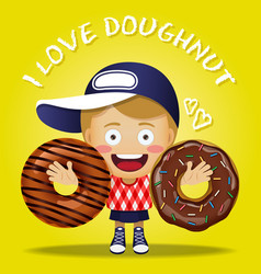 happy woman carrying big chocolate doughnut vector image vector image