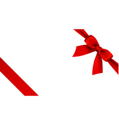 realistic red bow and ribbon on white background vector image