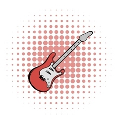 Red electric guitar comics icon vector image vector image