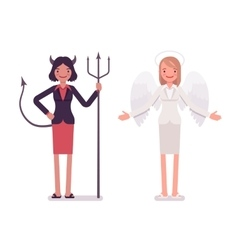 Set of female angel and devil vector image