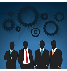 shadow businessmen with gear on the blue backgroun vector image vector image