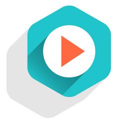 arrow sign play icon flat hexagon button vector image