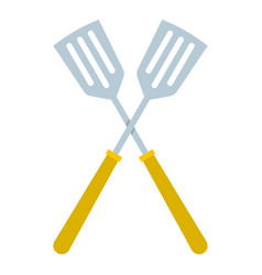 crossed metal spatulas icon isolated vector image