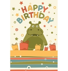 cute happy birthday card vector image vector image