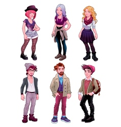 Group of young people both males and females vector image