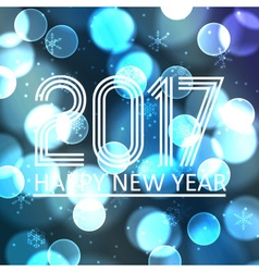 happy new year 2017 on blue bokeh circle vector image
