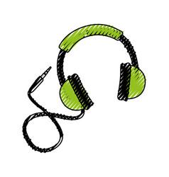 scribble headphones cartoon vector image vector image