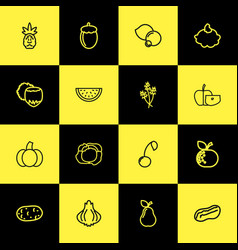 set of 16 editable kitchenware outline icons vector image