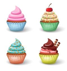 Sweet cupcake set vector image