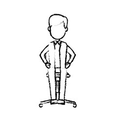 Young businessman sitting calmly on a chair vector