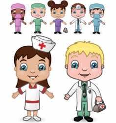 doctors and nurses set vector image vector image