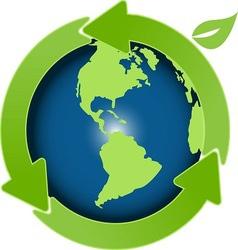 globe and green arrows vector image vector image