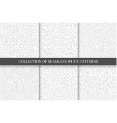hand drawn seamless curly patterns vector image