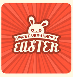 have a very happy easter headline and rabbit vector image