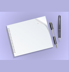 notebook and pens vector image