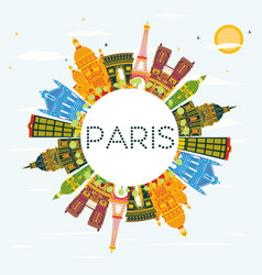 paris skyline with color buildings blue sky and vector image