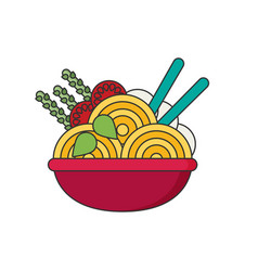 ramen in color flat icon style vector image vector image