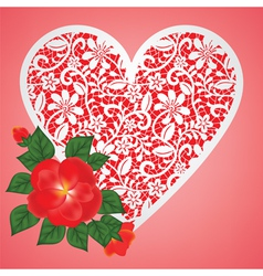 rose and lace heart vector image