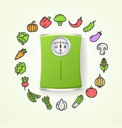 vegetables fresh food and floor scales health life vector image vector image