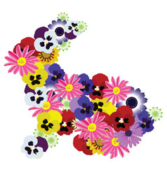 floral bunny vector image vector image