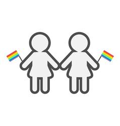 Gay marriage Pride symbol Two contour women with vector image vector image