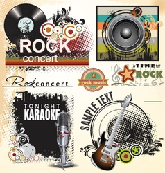 Grunge music banner set vector image vector image