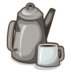 Old coffee pot and a cup vintage crockery vector