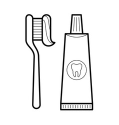 toothpaste and brush icon vector image vector image
