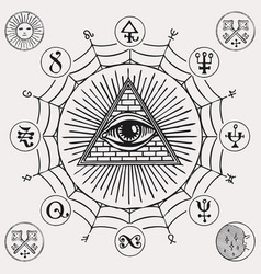 banner with third eye and esoteric symbols vector image