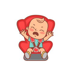 Basitting on car seat crying with tears baby vector