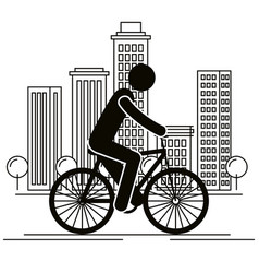 bicycle vehicle with human figure vector image